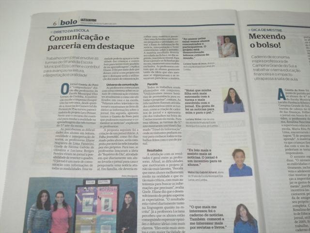 Jornal bolo - Gazeta do Povo e GRPcom