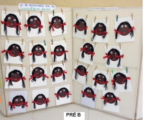 Trabalhos realizados com as crianças para conscientização da Consciência Negra