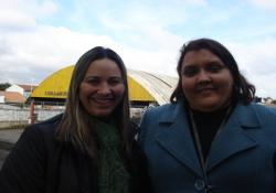 A diretora Beatriz e a sua vice Leila no complexo II da escola CEI Maestro Bento Mossurunga