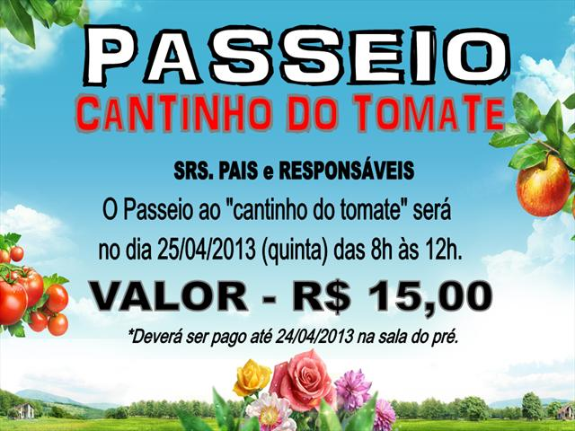BANNER - PASSEIO CANTINHO DO TOMATE BY DOUGLAS AUG