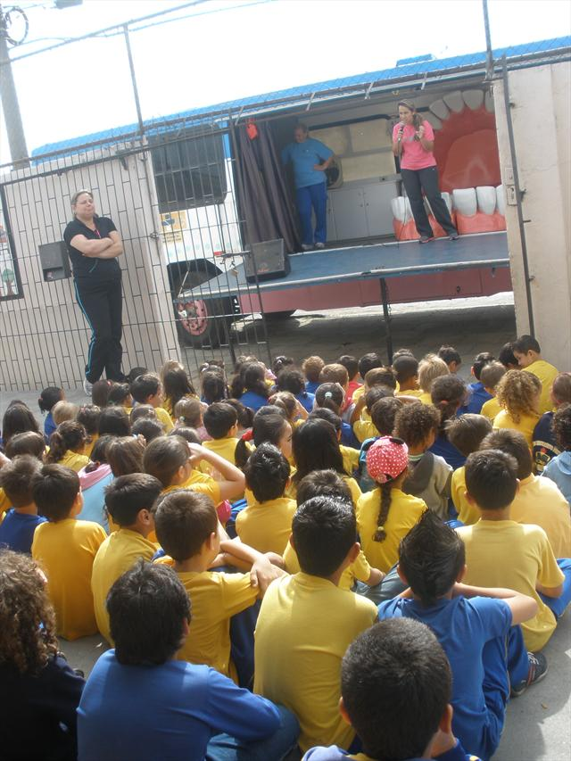 Programa Cárie Zero na escola. Parceria com a U.S. Bom Pastor.