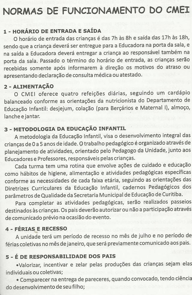 NORMAS DE FUNCIONAMENTO DO CMEI