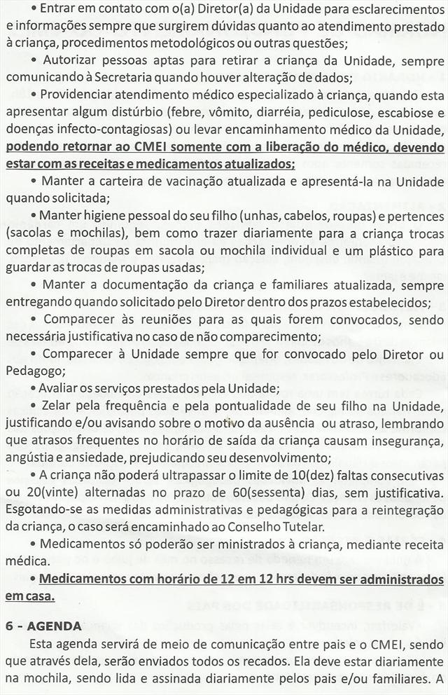 NORMAS DE FUNCIONAMENTO DO CMEI 2