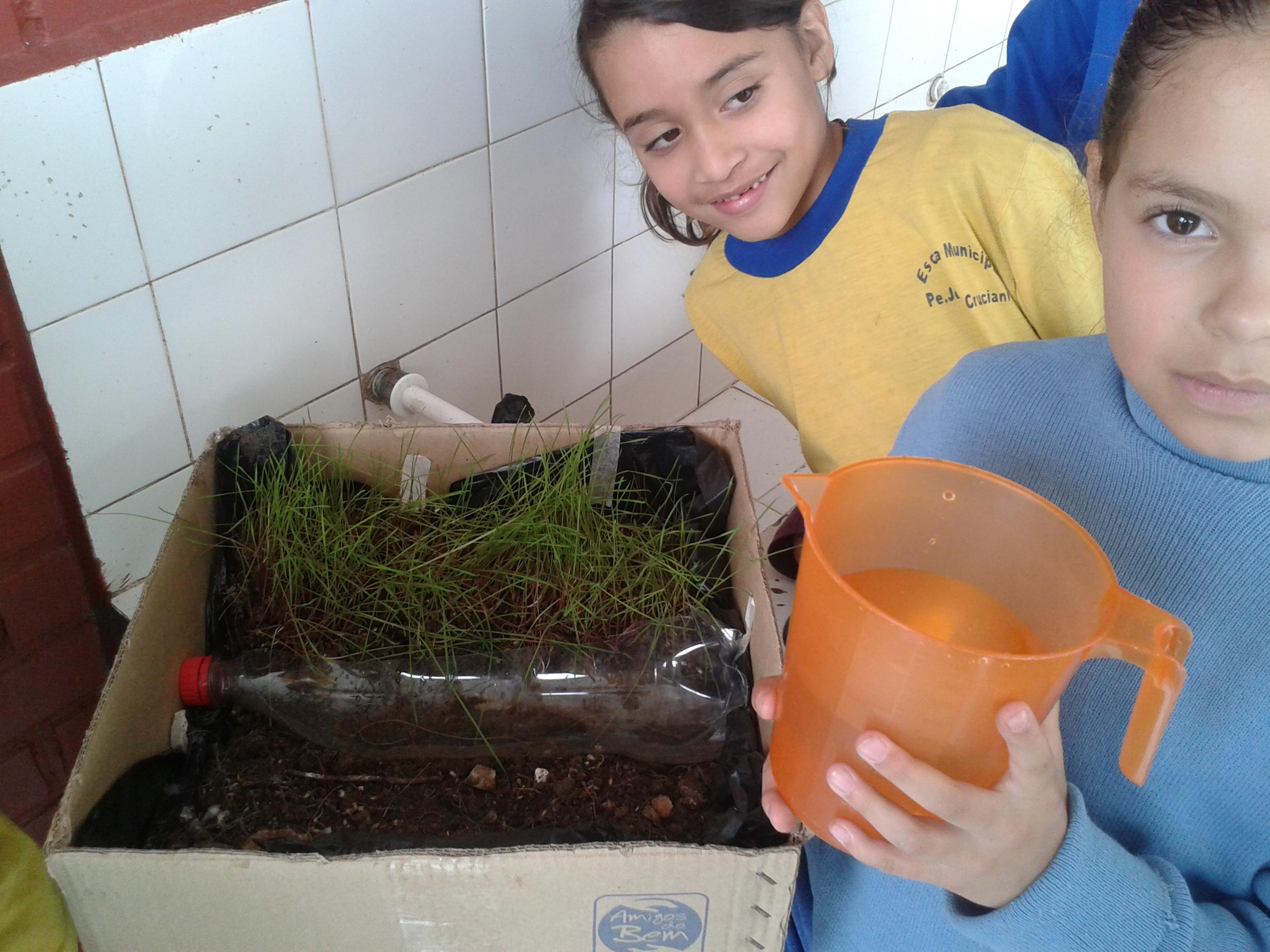 Alunos da UEI realizam experiência de assoreamento do solo.
