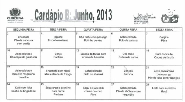 Cardápio Junho