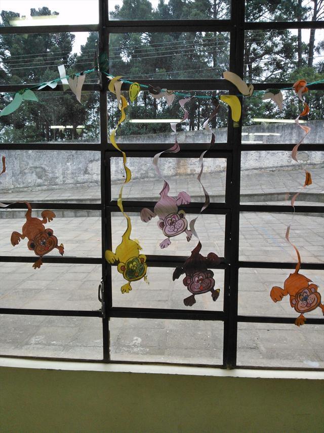 Os macacos na janela do CEI para todos apreciarem.