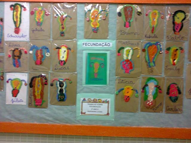 Exposição dos trabalhos no corredor da escola