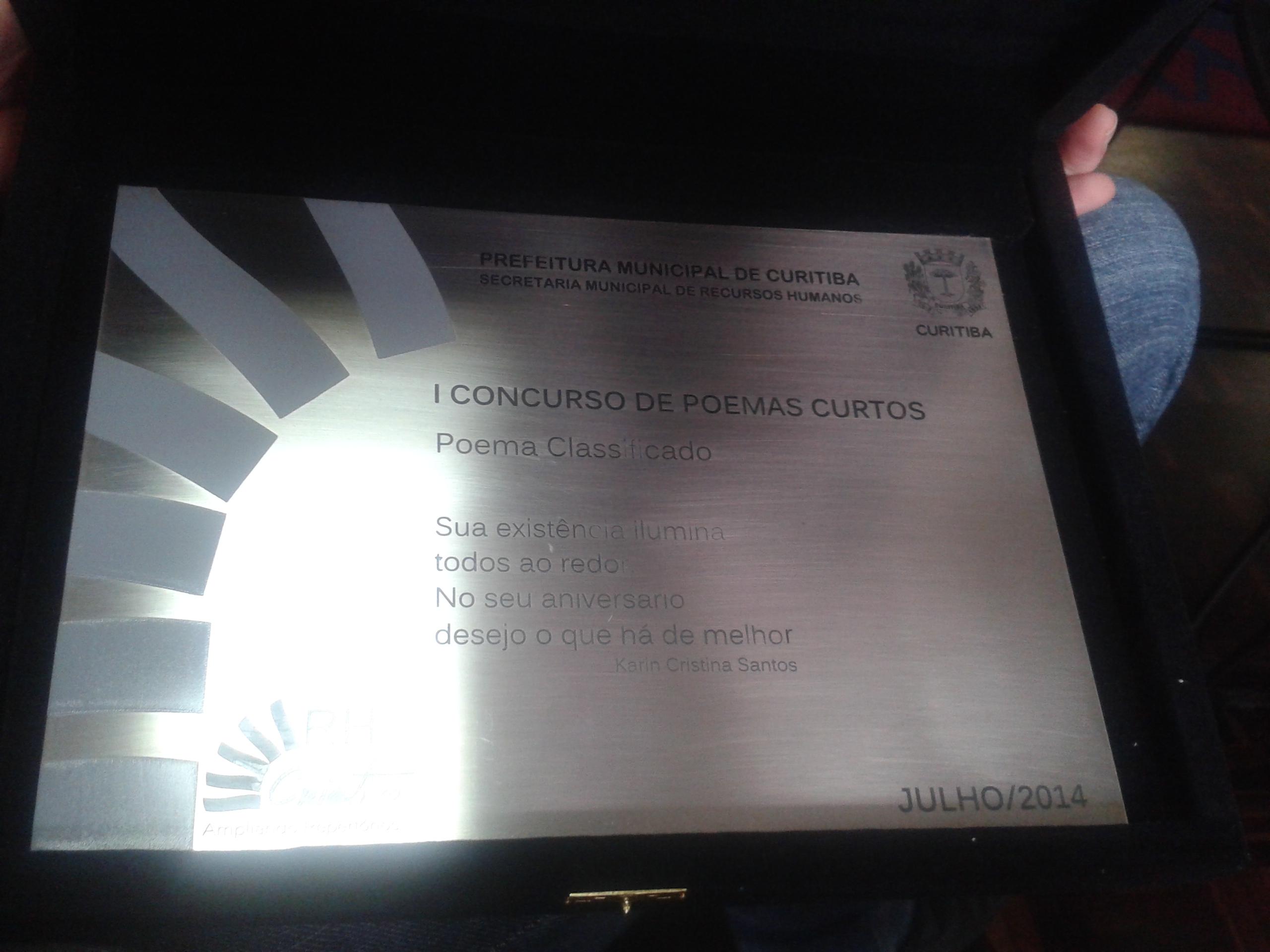 Karin Cristina Santos - 1º Concurso de Poemas Curtos da PMC