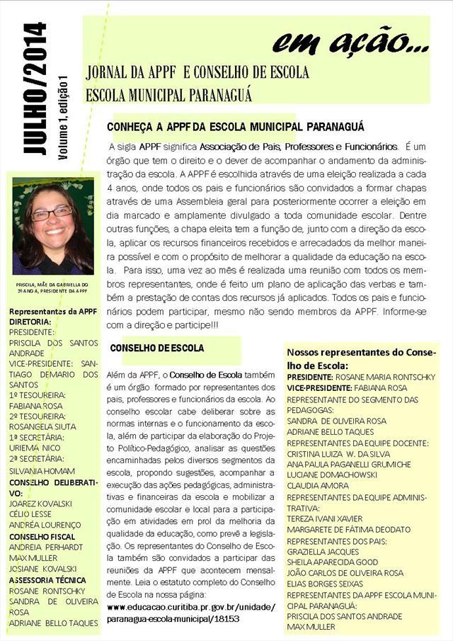 JORNAL DA APPF E CONSELHO DE ESCOLA