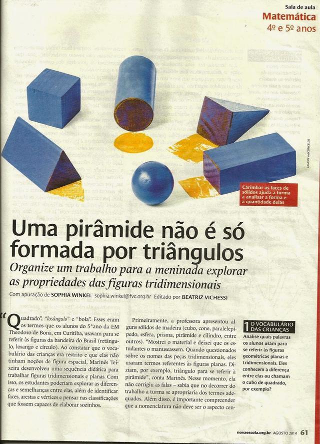 Sequência didática desenvolvida na EM Theodoro de Bona é publicada com destaque na edição de agosto da Revista Nova Escola