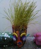 Plantar: Boneco com cabelo de alpiste