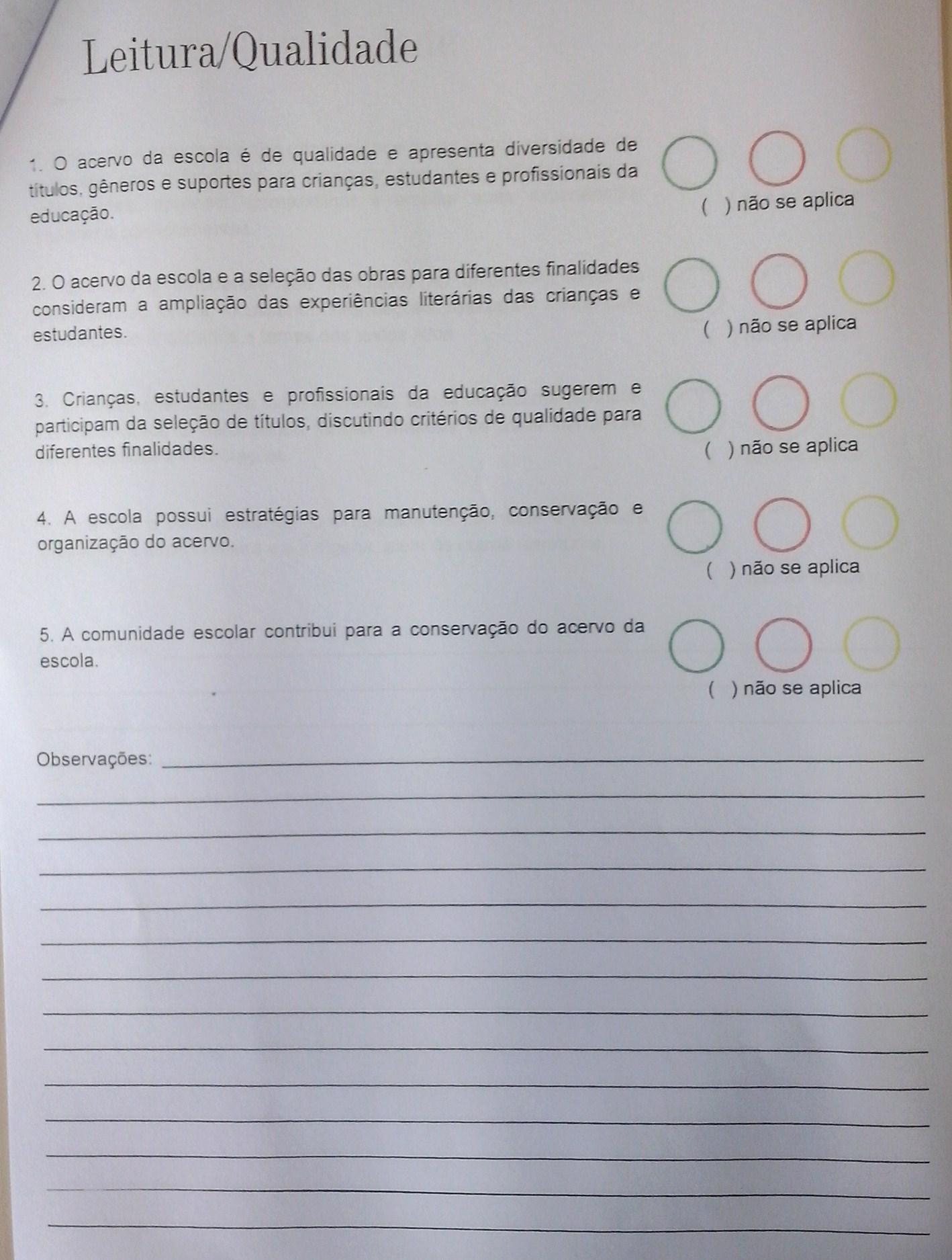 documento que irá subsidiar a avaliação da escola pela comunidade escolar