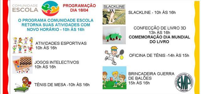 RETORNO DO PROGRAMA COMUNIDADE ESCOLA