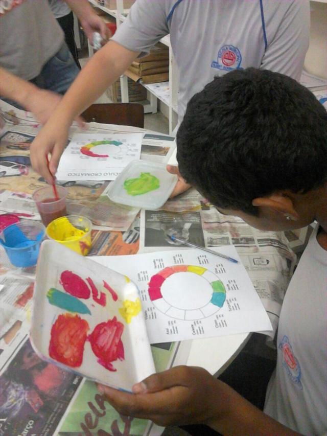 Aula de Arte Ensina o Círculo Cromático na Prática