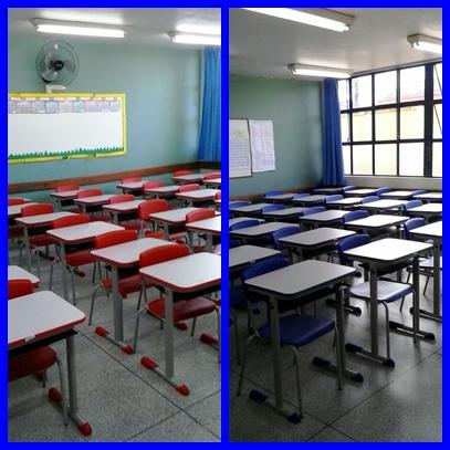 Carteiras e cadeiras novas em nossa Escola.