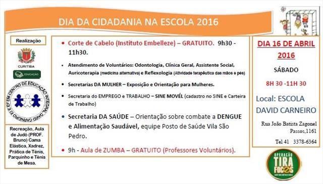 Dia da cidadania na Escola Municipal CEI David Carneiro