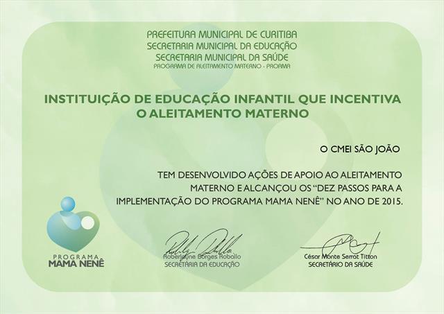 Certificado Programa Mama Nenê