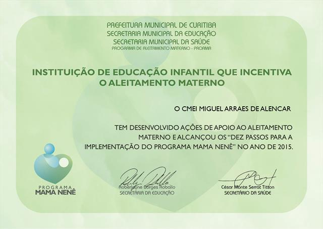 Certificado Programa Mama Nenê 2015
