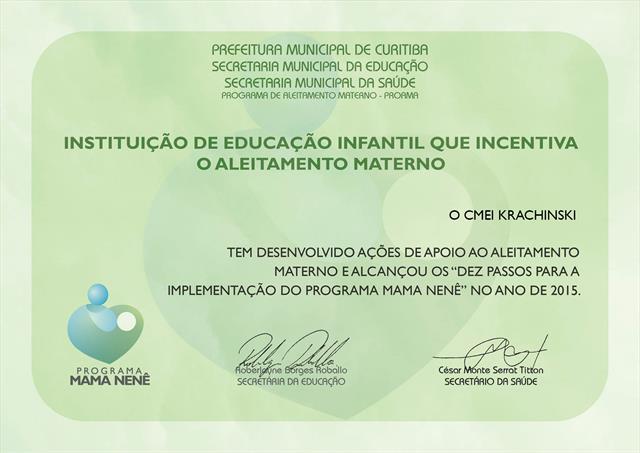 Certificação Mama Nenê 2015 - CMEI Krasinski.