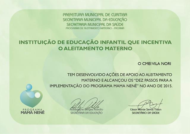 Programa Mama Nenê - Certificado de Incentivo ao P