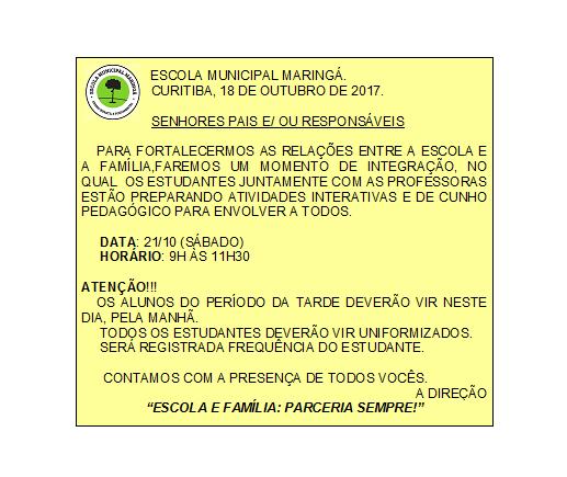 Bilhete Integração 18/10