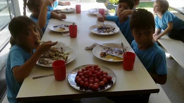 Tomates vermelhos e orgânicos na salada do almoço