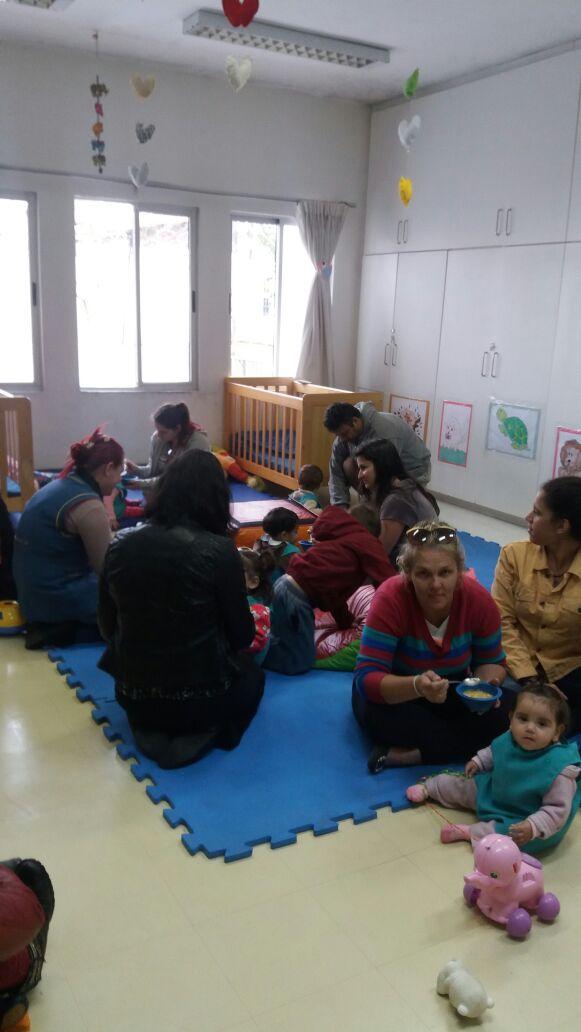 Sopa na escola com minha família.