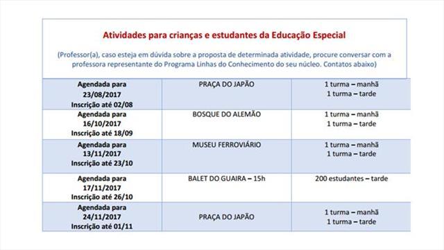 Calendário Programa Linhas do Conhecimento Inclusão e Atendimento Educacional Especializado