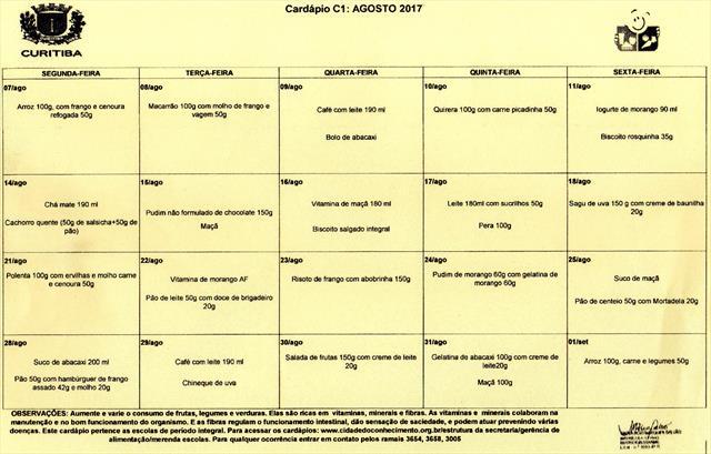 Cardápio Agosto 2017