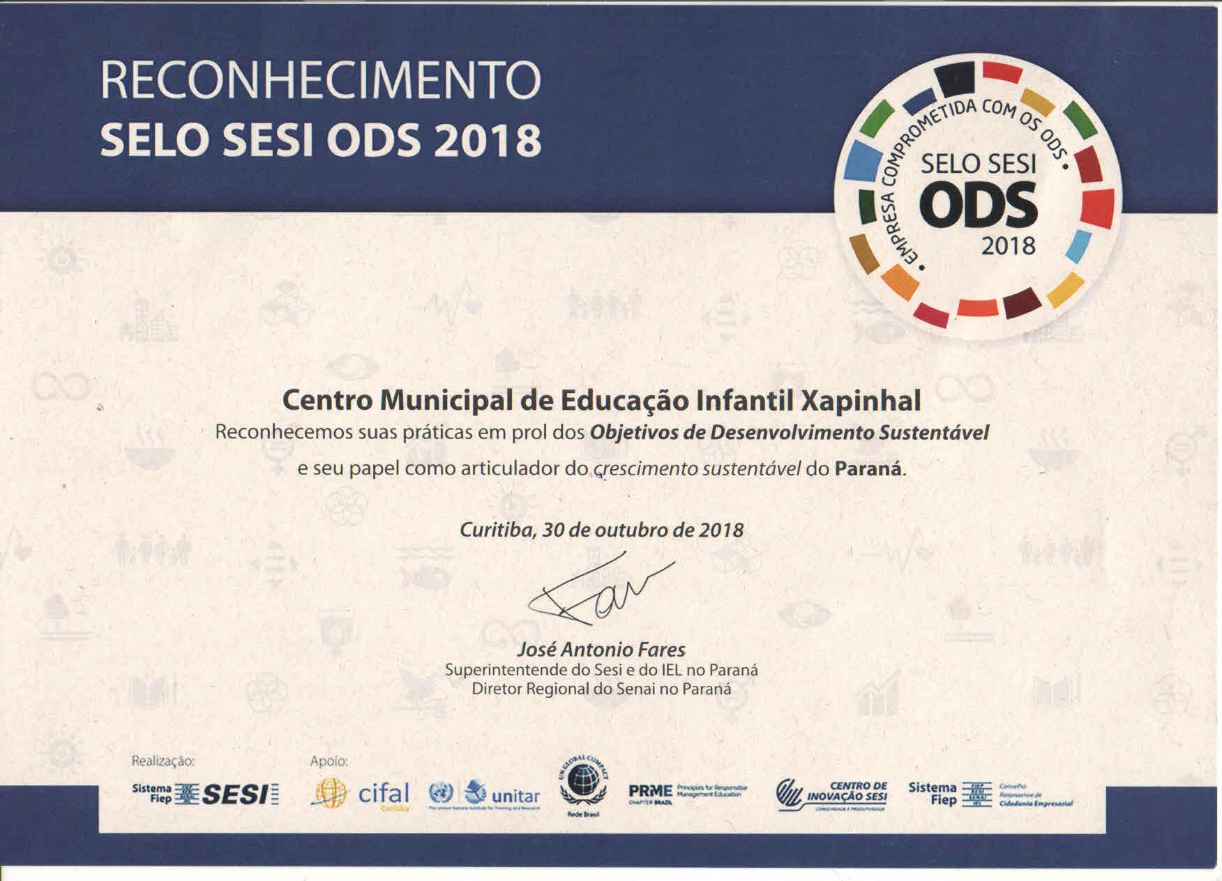 PRÊMIO SESI ODS 2018