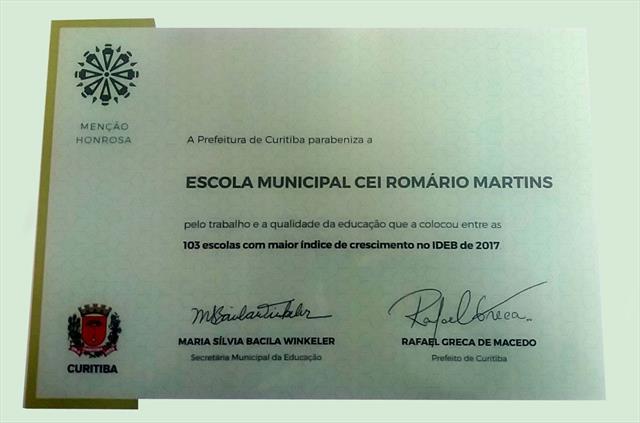 Certificado do Índice de Desenvolvimento da Educação Básica do Brasil 2017