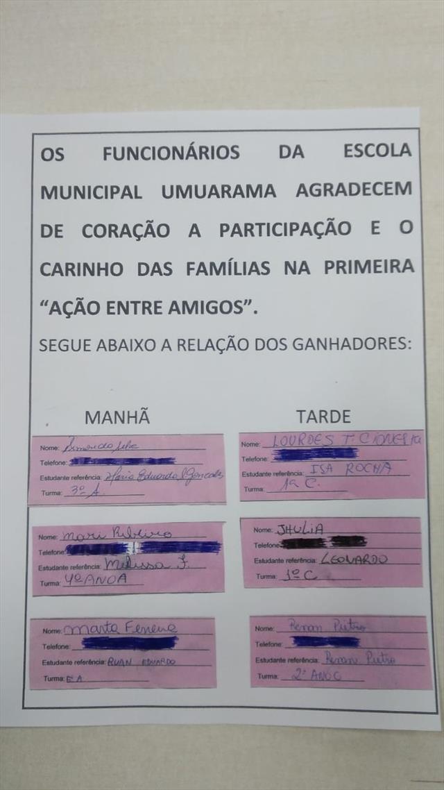 Sorteio - AÇÃO ENTRE AMIGOS- 07/12/2018