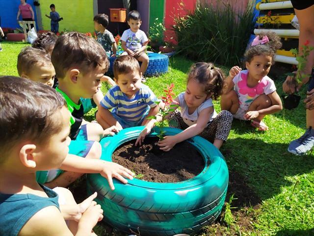 Pequenos jardineiros na construção do Jardins de Mel