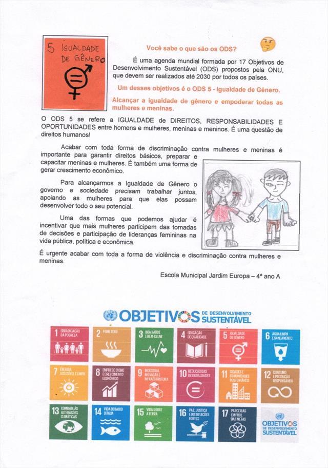 Folder sobre igualdade de gênero - ODS 5 - Analine