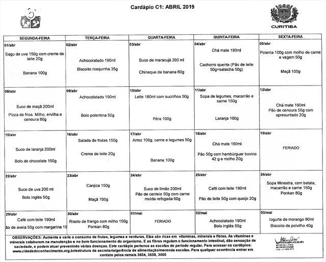 Cardápio Abril 2019