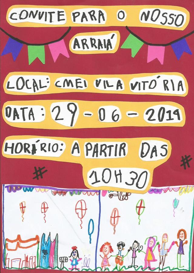 Convite Festa Junina CMEI Vila Vitória 2019