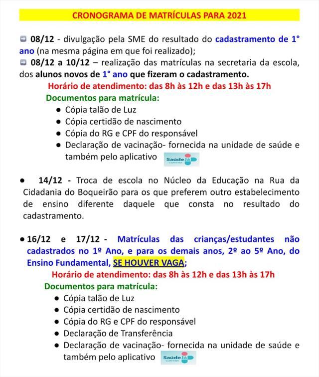 MATRÍCULAS ABERTAS DIA 8 /12/2020