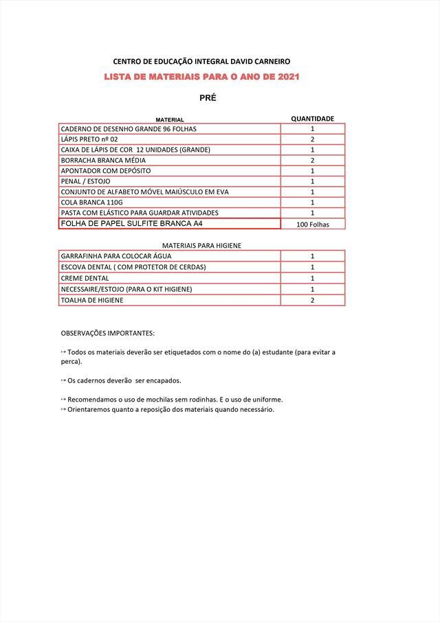 Listas de Materiais