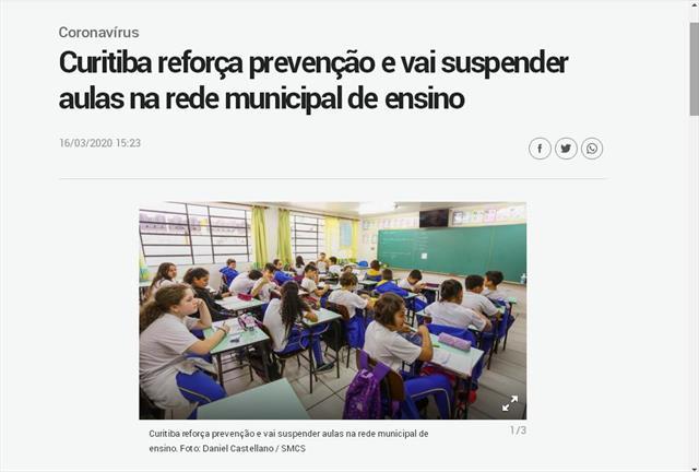 Curitiba reforça prevenção e vai suspender aulas n