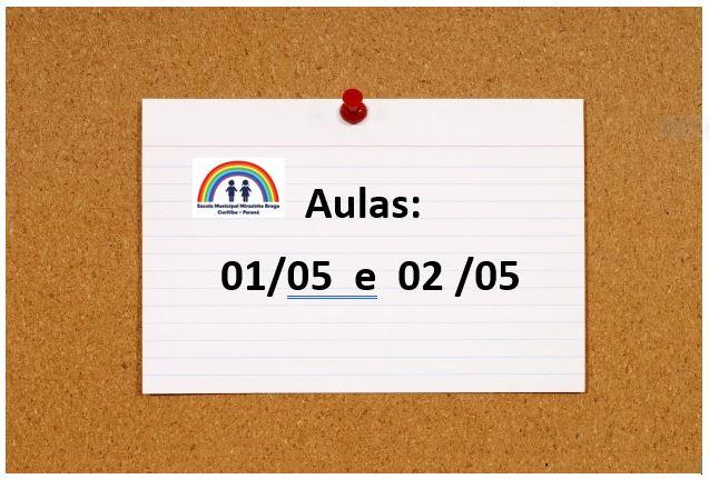 Aulas dos dias 01/05 e 02/05