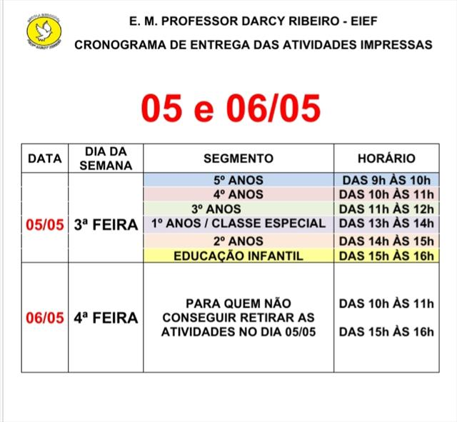 Cronograma de entrega de atividades