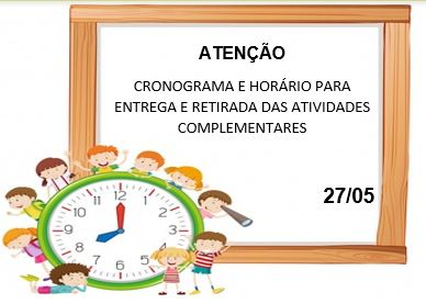 Cronograma e Horário para Entrega das Atividades Complementares 27/05