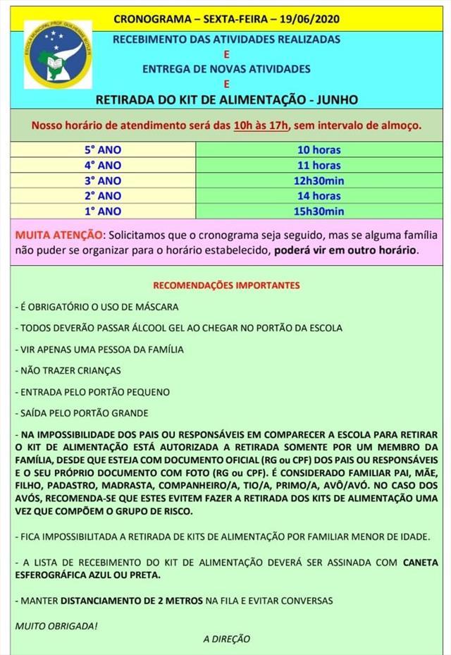 ATENÇÃO PARA DATA DE ENTREGA DOS KITS ALIMENTAÇÃO!