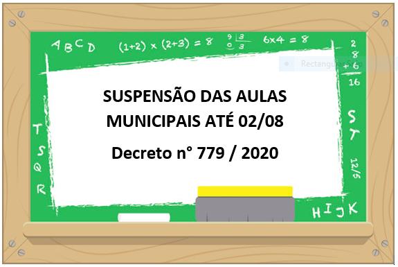 Suspensão das aulas municipais até 02/08