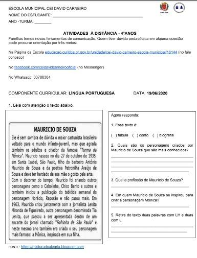 Atividade em folhas Língua Portuguesa