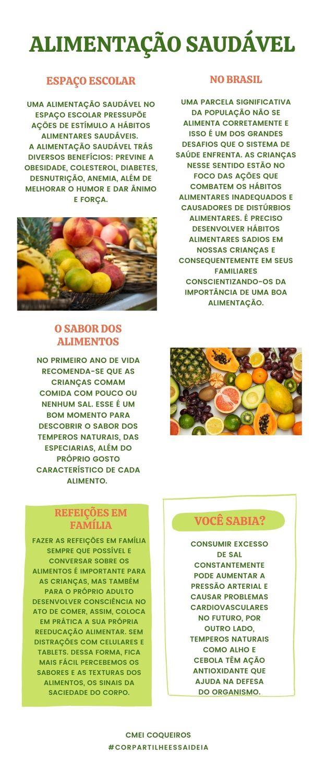 Informativo sobre alimentação saudável