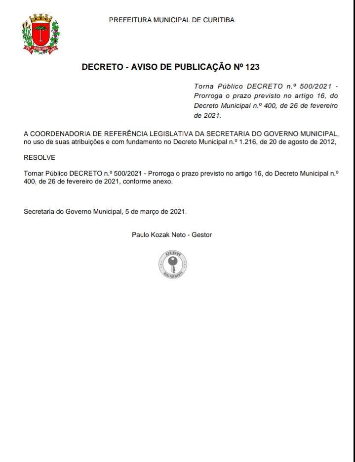 DECRETO Nº500/2021 - AVISO DE PUBLICAÇÃO Nº123