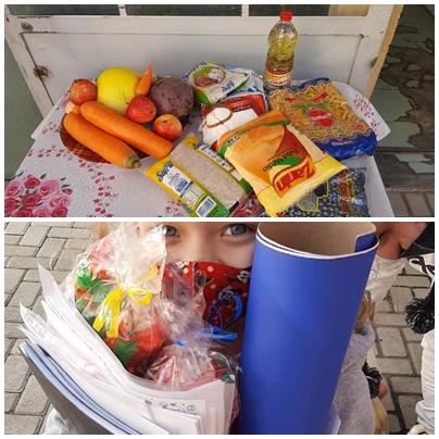 Entrega de kits alimentares e pedagógicos.